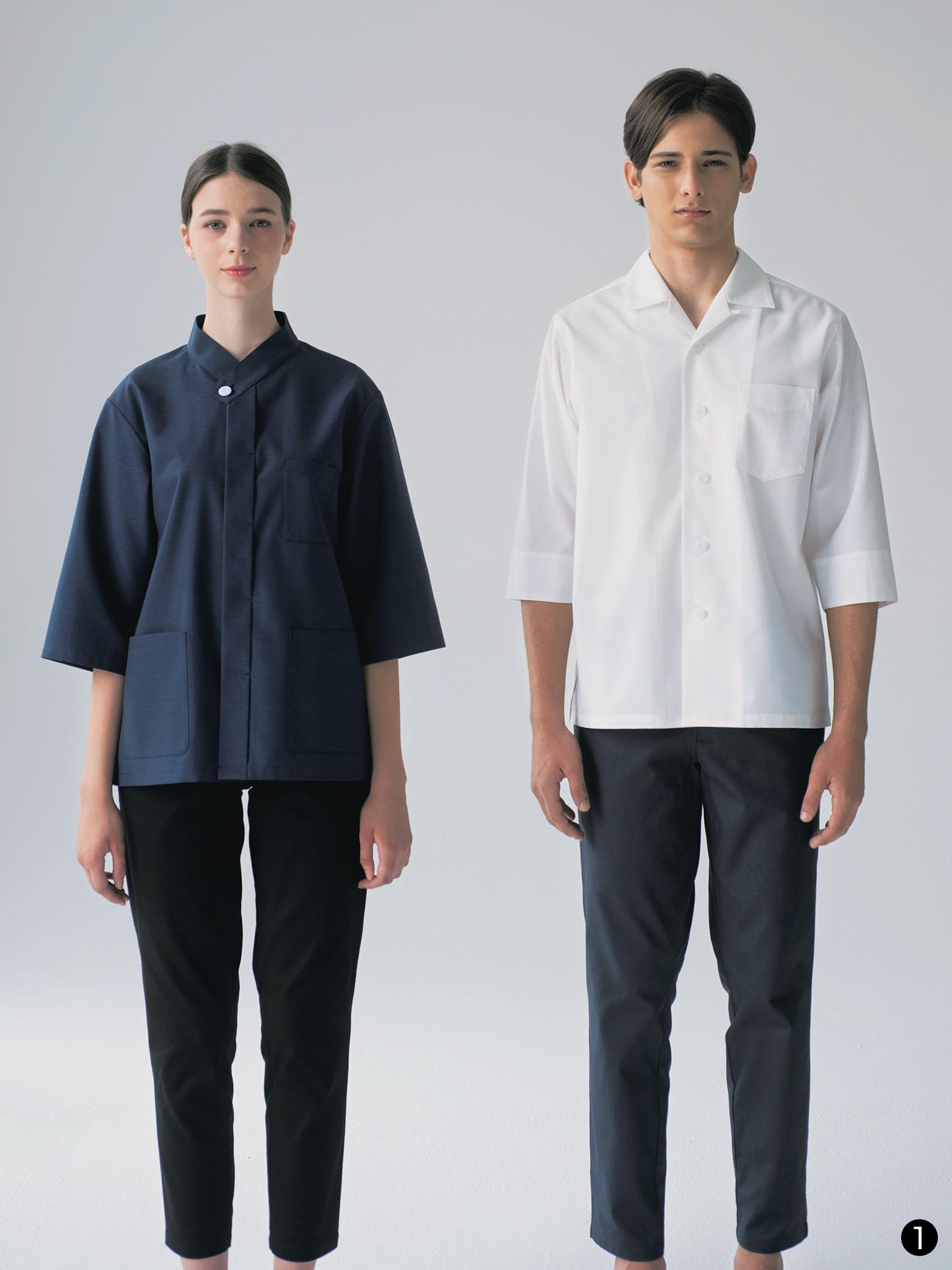 開襟・和風衿の7分袖シャツコート