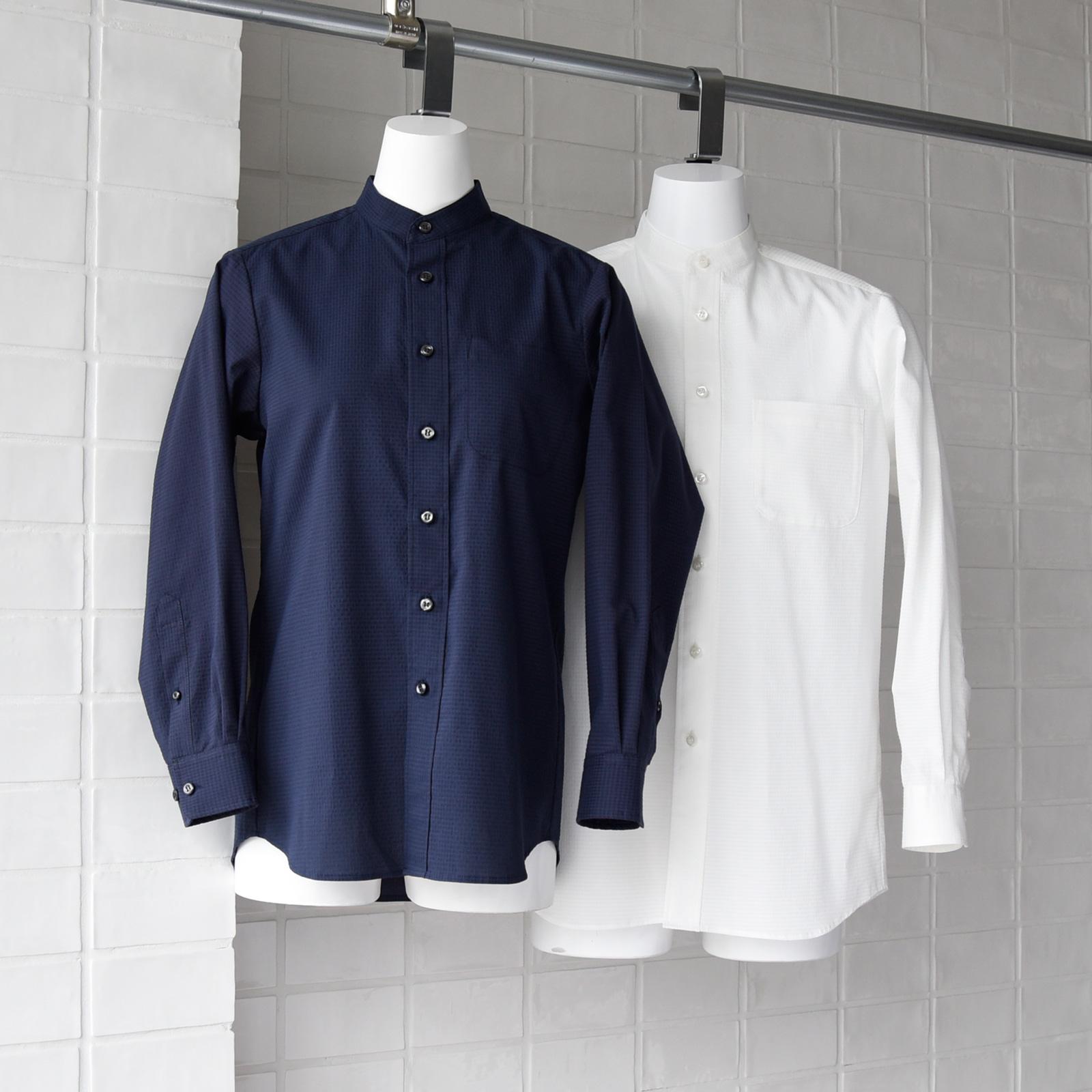 シアサッカー シアサッカー スタンドカラーシャツシャツ CH4466