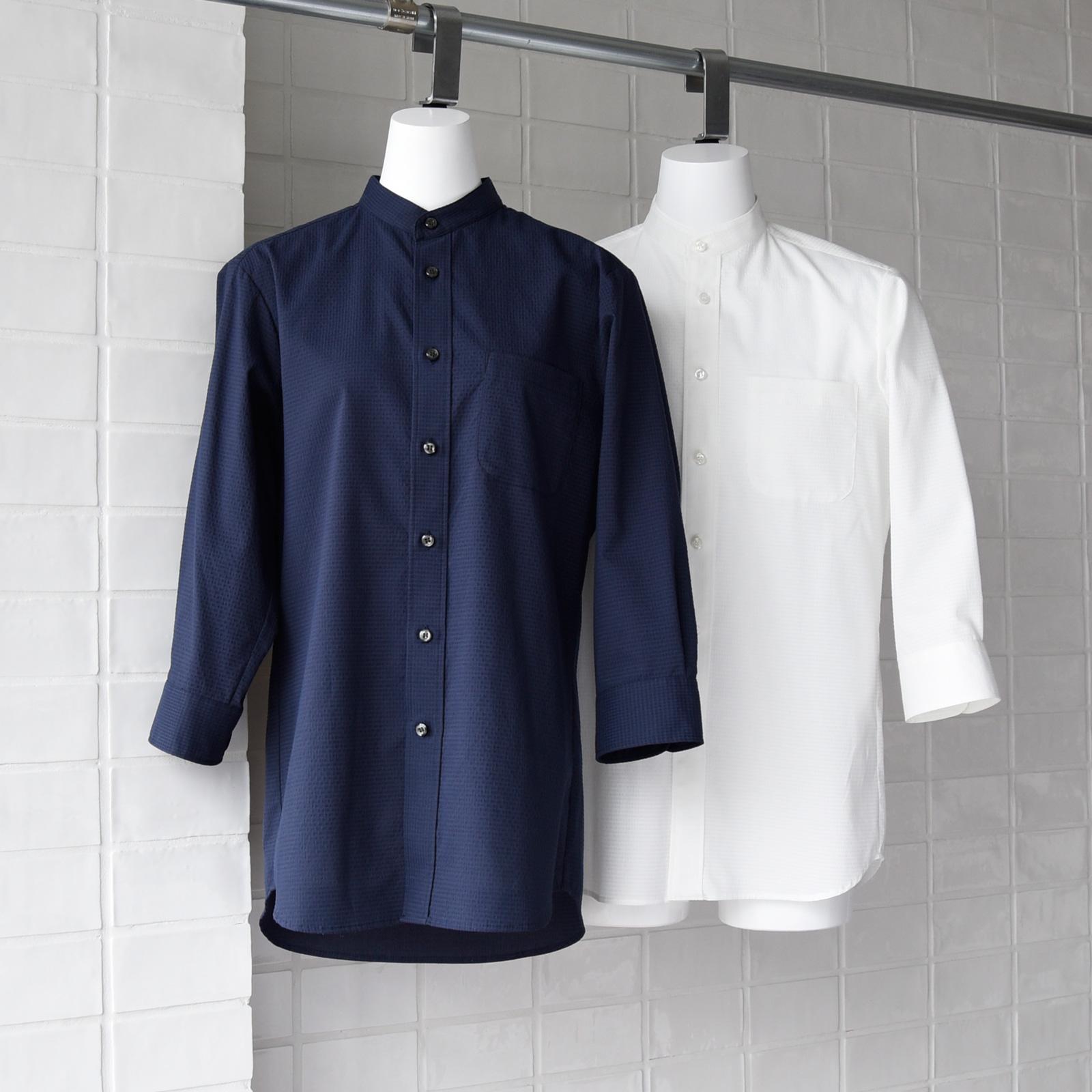 シアサッカー シアサッカー スタンドカラーシャツシャツ CH4467