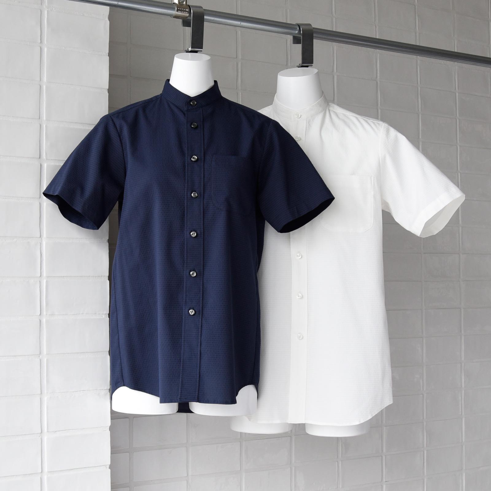 シアサッカー スタンドカラーシャツ CH4468